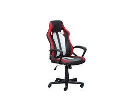 RacingFun kantoorstoel zwart, rood, wit.