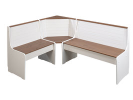 WrightA hoekopbergruimte onder de zitbank wit, bruin.