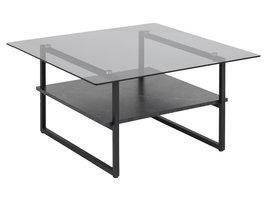 Okaya salontafel met 1 plank, marmerprint, rook.