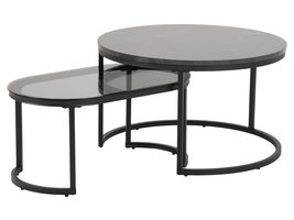 Spiro salontafel set van 2 stuks, marmerprint.