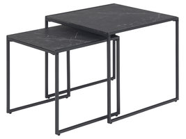 Infinity salontafel Inschuiftafels 2 stuks, marmerprint, zwart.