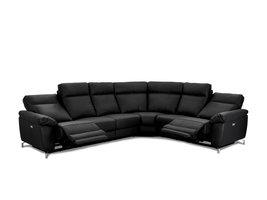 Selesta  hoekbank VSL-recliner leder, zwart.