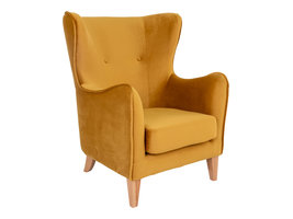 Campo fauteuil velours, mosterdgeel.