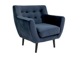 Monte fauteuil velours, blauw.