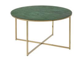 Almaz salontafel Ø80 cm in glas met groene marmerprint en goudkleurig chromen onderstel