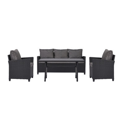 Ester loungeset 4-delig incl. kussens, zwart, grijs.