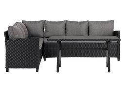 Ester loungeset 2-delig incl. kussens, zwart, gesorteerd.