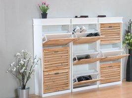 Schoenenkasten wit met 9 houten kleppen Anna, set van 3 stuks