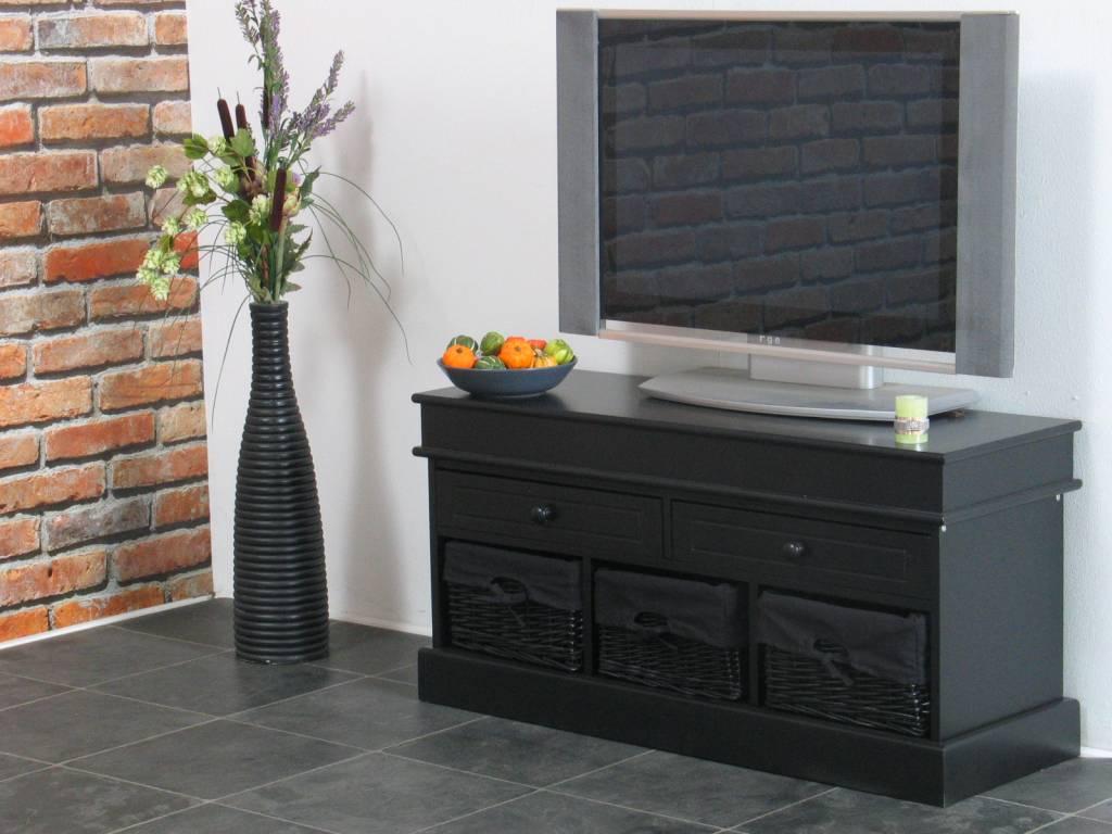 Tv Kast Voor Slaapkamer.Tv Meubel Zwart 100 Cm Breed Met Zwarte Mandjes Trine