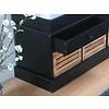 Halbank Anna zwart inclusief 3 houten mandjes en kussen