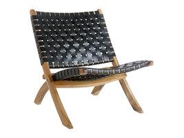 Perugia fauteuil Leder zwart.