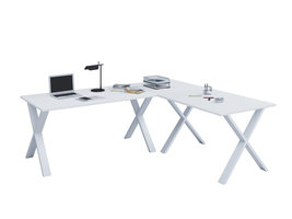 Lona hoekbureau 220x220x80 cm X-frame wit, wit.