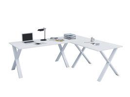 Lona hoekbureau 190x190x80 cm X-frame wit, wit.