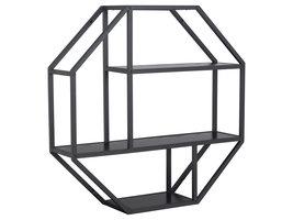 Sea wandkast Wandplank achthoekig met 3 planken zwart.