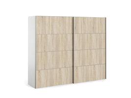 Veto Schuifdeurkast 2 deuren breed 243 cm wit, eiken decor.