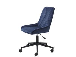 Milton kantoorstoel velours blauw.