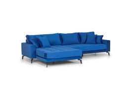 Vila bank, chaise longue 3 pers. rechts- en linksgericht met 4 kussens, velour blauw.