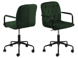 Wendy kantoorstoel velours met armleuningen groen.