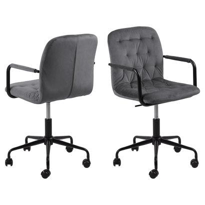 Wendy kantoorstoel velours met armleuningen grijs.