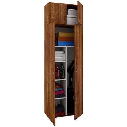 Vandol II Universele kast, schoonmaakkast met wandkast 4 deuren Kernnoten decor.