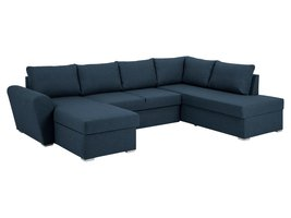 Stan slaapbank, hoek rechts met chaise longue links, in blauw.