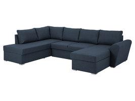 Stan slaapbank, hoek links met chaise longue rechts, in blauw.