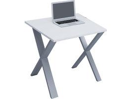 Lona Bureau 80x80 cm X-frame wit/zilverkleurig.
