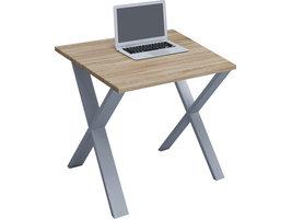 Lona Bureau 80x80 cm X-frame Sonoma eiken decor/zilverkleurig.