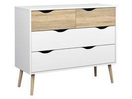 Commode Napoli ladenkast met 2x2 laden wit/eiken