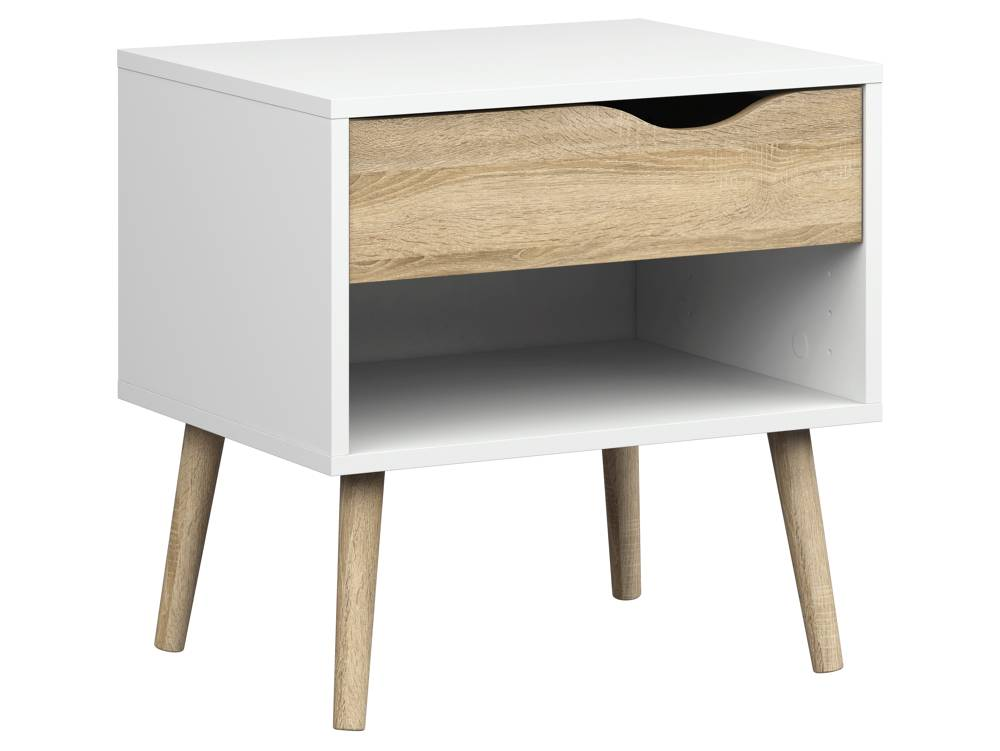 Design Nachtkastjes Wit.Tvilum Nachtkastje Napoli Met Lade En Plank Wit Eiken