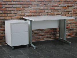 Bureau wit 120 cm met rolcontainer Prima
