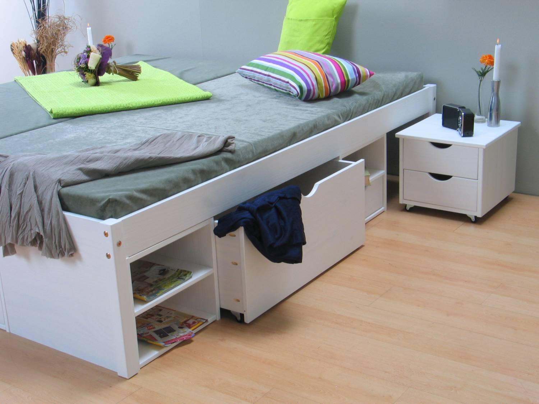 Hoog Bed 140x200.Wit Tweepersoonsbed Met Royale Bergruimte 140 X 200