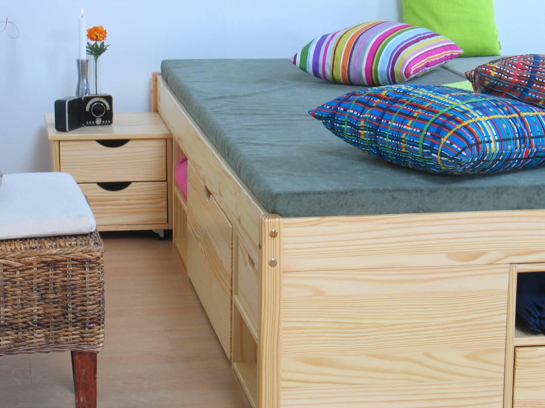 Hoog Bed 140x200.Tweepersoonsbed Grenen Zeer Compleet 140 X 200
