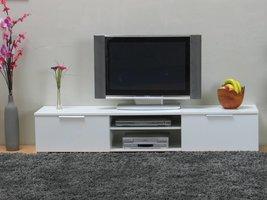 TV meubel Bergamo wit hoogglans met 2 laden en open vakken