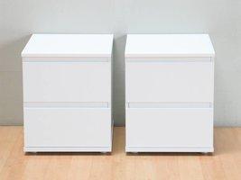 Nachtkastjes Mia wit met 2 lades, set van 2 stuks