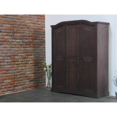 Bruine 3-deurs kledingkast Rico