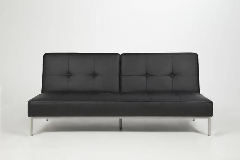 Moderne Zwarte Slaapbank.Slaapbank Per Zwart Lederlook