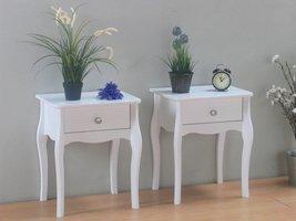 Nachtkastjes wit met lade Baroque - set van 2