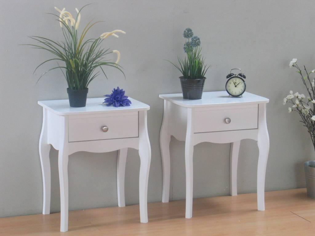 Wonderbaarlijk Nachtkastjes wit met lade Baroque - set van 2 SF-83