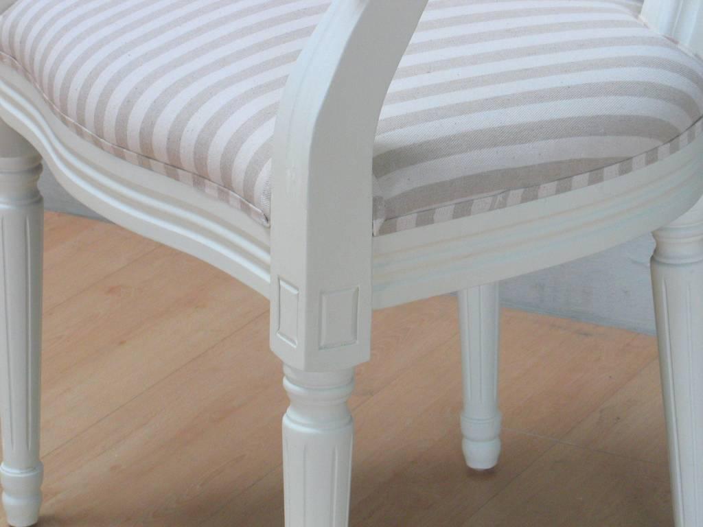 Witte Eetkamerstoelen Met Armleuning.Rococo Eetkamerstoel Met Armleuning Antiek Wit