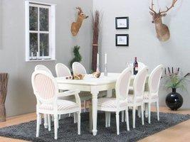 Mozart eethoek 100x180/280 cm incl. 2 verlengbladen antiek wit met 2+6 Rococo stoelen antiek wit/beige.