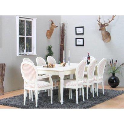 Eethoek Mozart wit met 8 stoelen