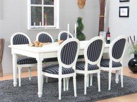 Mozart eethoek 100x180/280 cm incl. 2 verlengbladen antiek wit met 6 Rococo stoelen antiek wit/zwart.