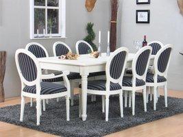 Mozart eethoek 100x180/280 cm incl. 2 verlengbladen antiek wit met 2+6 Rococo stoelen antiek wit/zwart.