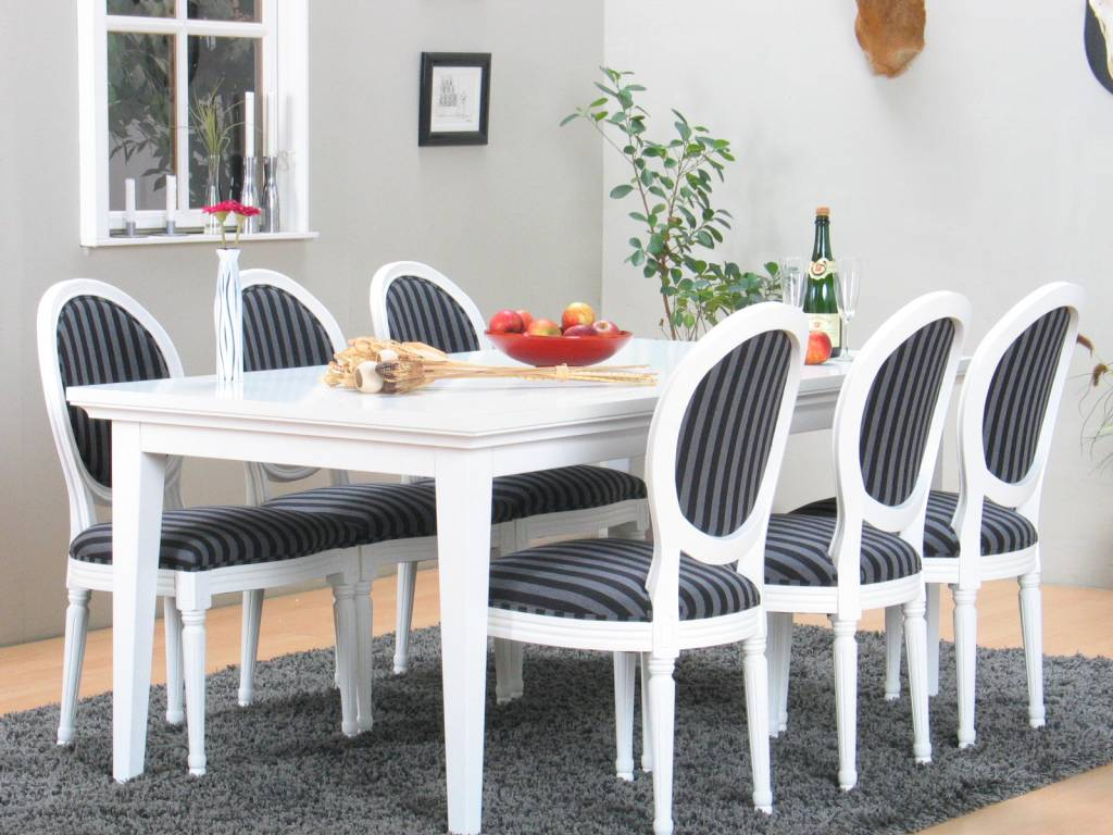 6 Witte Design Stoelen.Eethoek Venetie Wit 180 276 Cm Met 6 Rococo Barok Stoelen