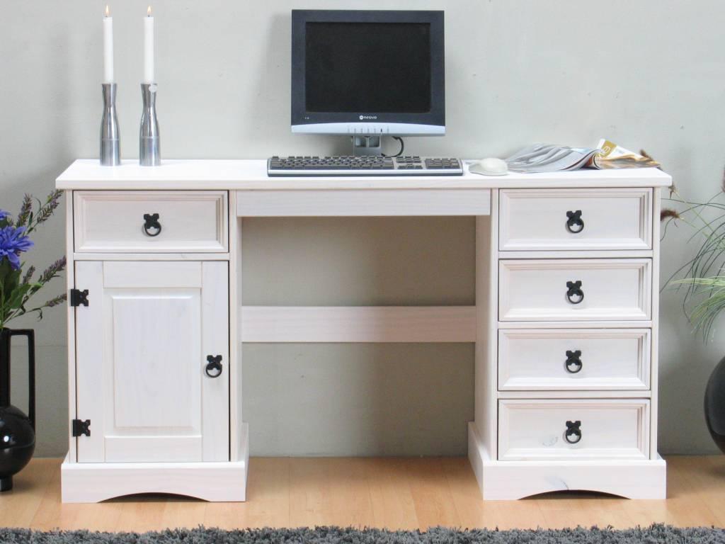 ≥ bureau van massief hout met wit front bureaus en