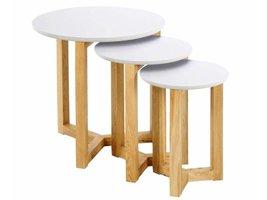 FYN Oryx set van 3 salontafels wit hout diameter 50cm