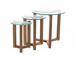 FYN Oryx set van 3 salontafels glas diameter 50 cm
