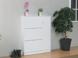 Schoenenkast Light wit hoogglans met 3 lades en een deur