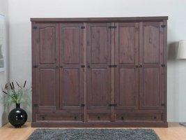 Bruine kledingkast 5-deurs New Mexico